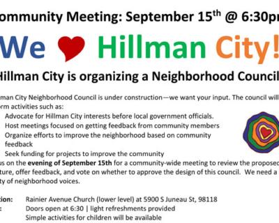 Sept 15: Hillman City Community Meeting