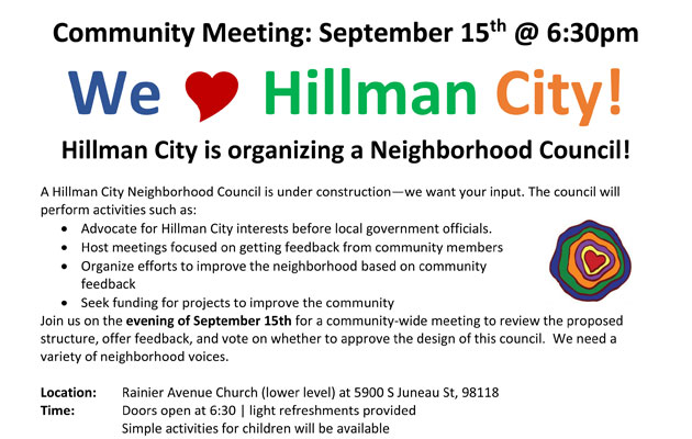 Sept 15: Hillman City Community Meeting
